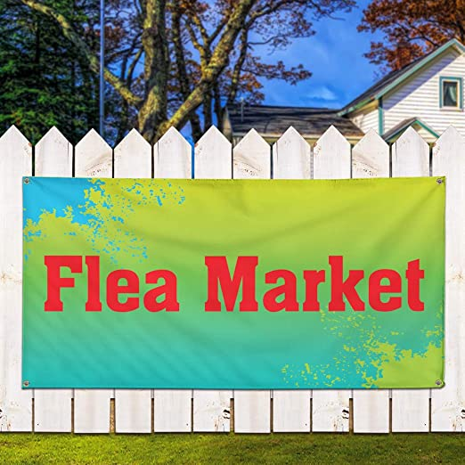 Multiple Sizes Available 36inx90in Vinyl Banner Sign Flea Market Red Yellow Business Flea Market Marketing Advertising Red Set of 2 6 Grommets