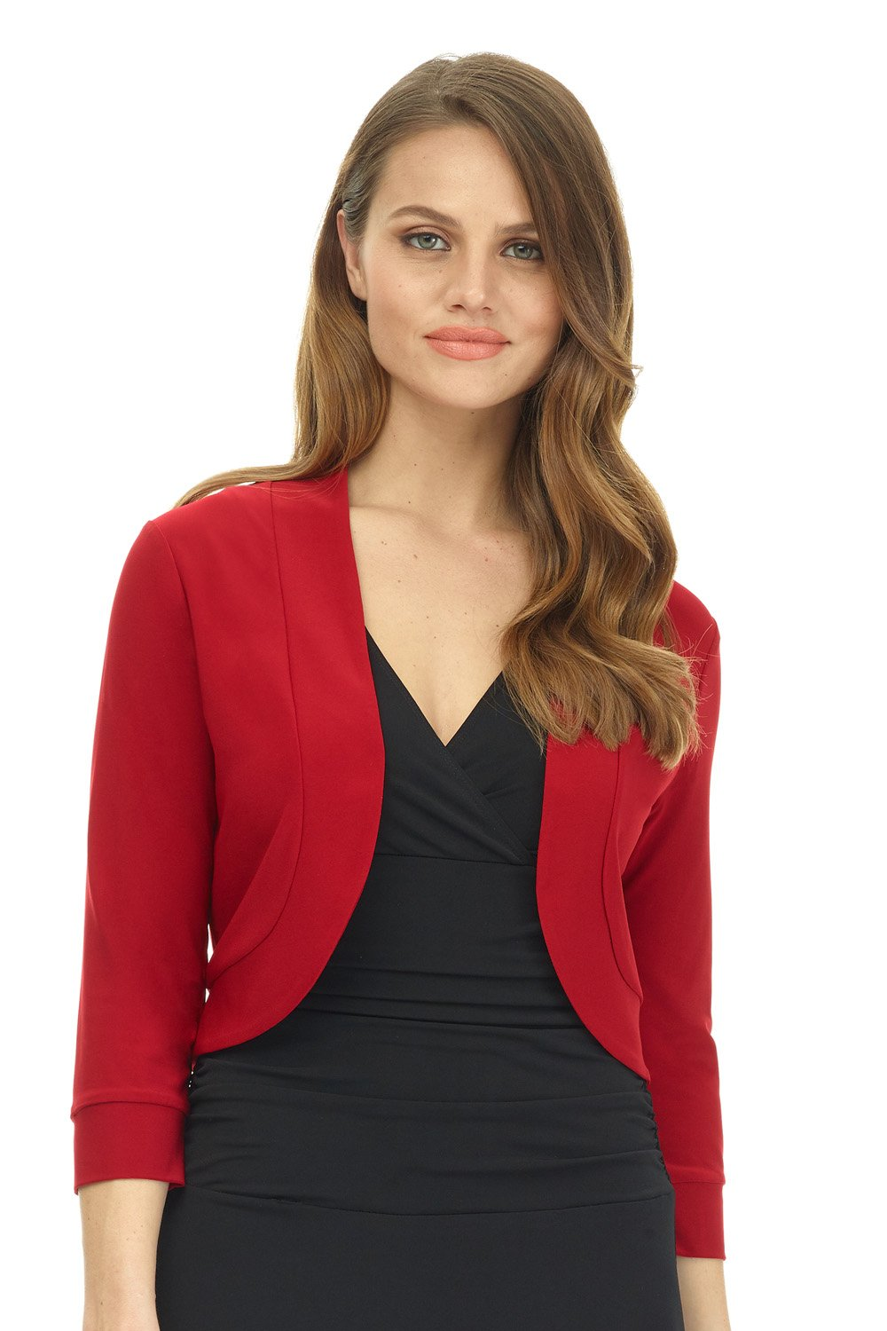 Rekucci Women's Soft Knit Rounded Hem Stretch Bolero Shrug (Medium,Cherry)