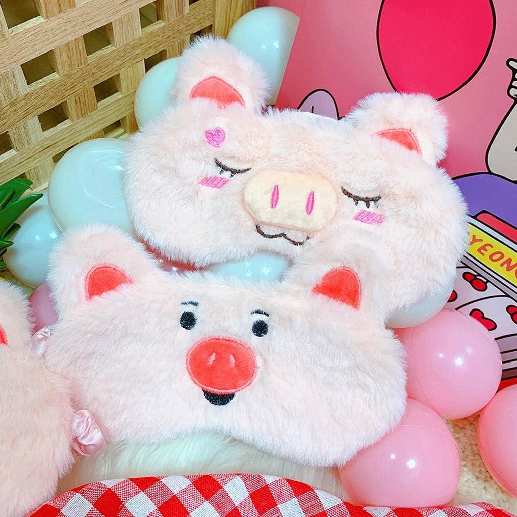 Aawsome Masque de sommeil en peluche pour femmes et filles pliable pour se d/étendre 1 motif cochon et emoji brod/é avec oreilles et fard /à paupi/ères extensible