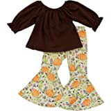 So Sydney Girls Fall, Halloween, Thanksgiving 2 Piece Ruffle Boutique Pants Outfit