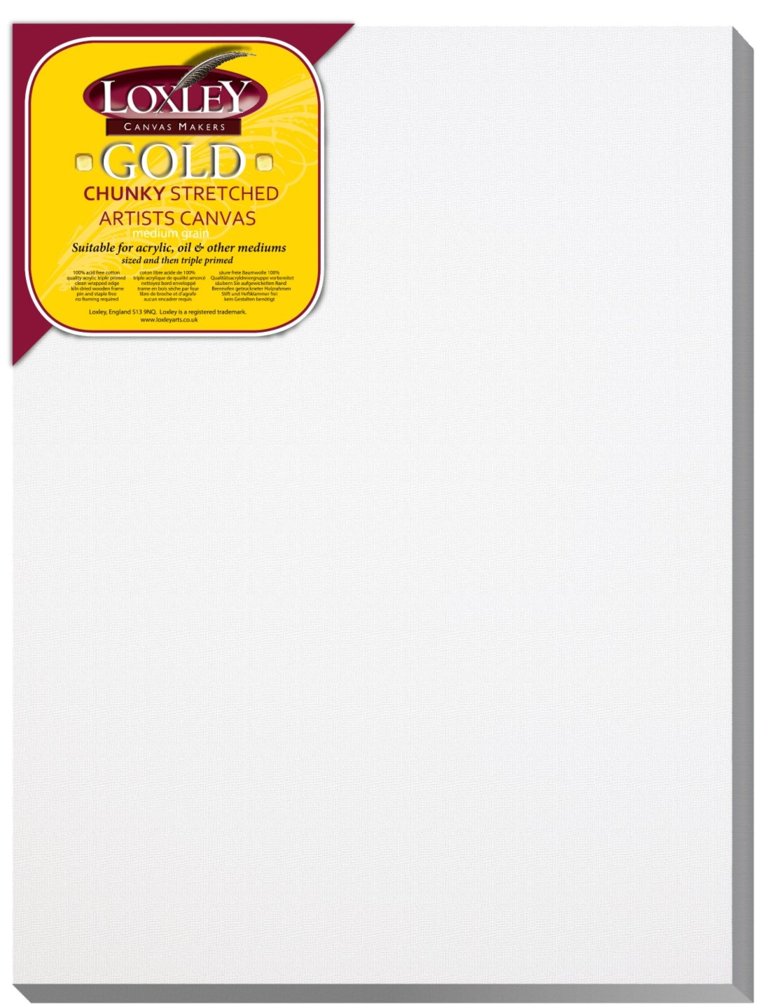 Loxley Gold 16 x 12-inch 40 x 30 cm 37mm Chunky Deep Edge Artist Quality Stretched Canvas Primed LCC-1612