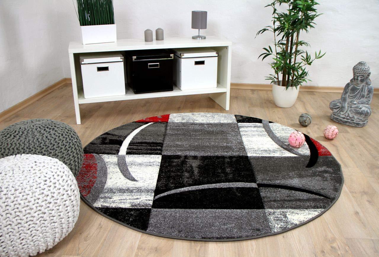 Designer Teppich Teppich Designer Brilliant Karo Rot Grau Trend Rund