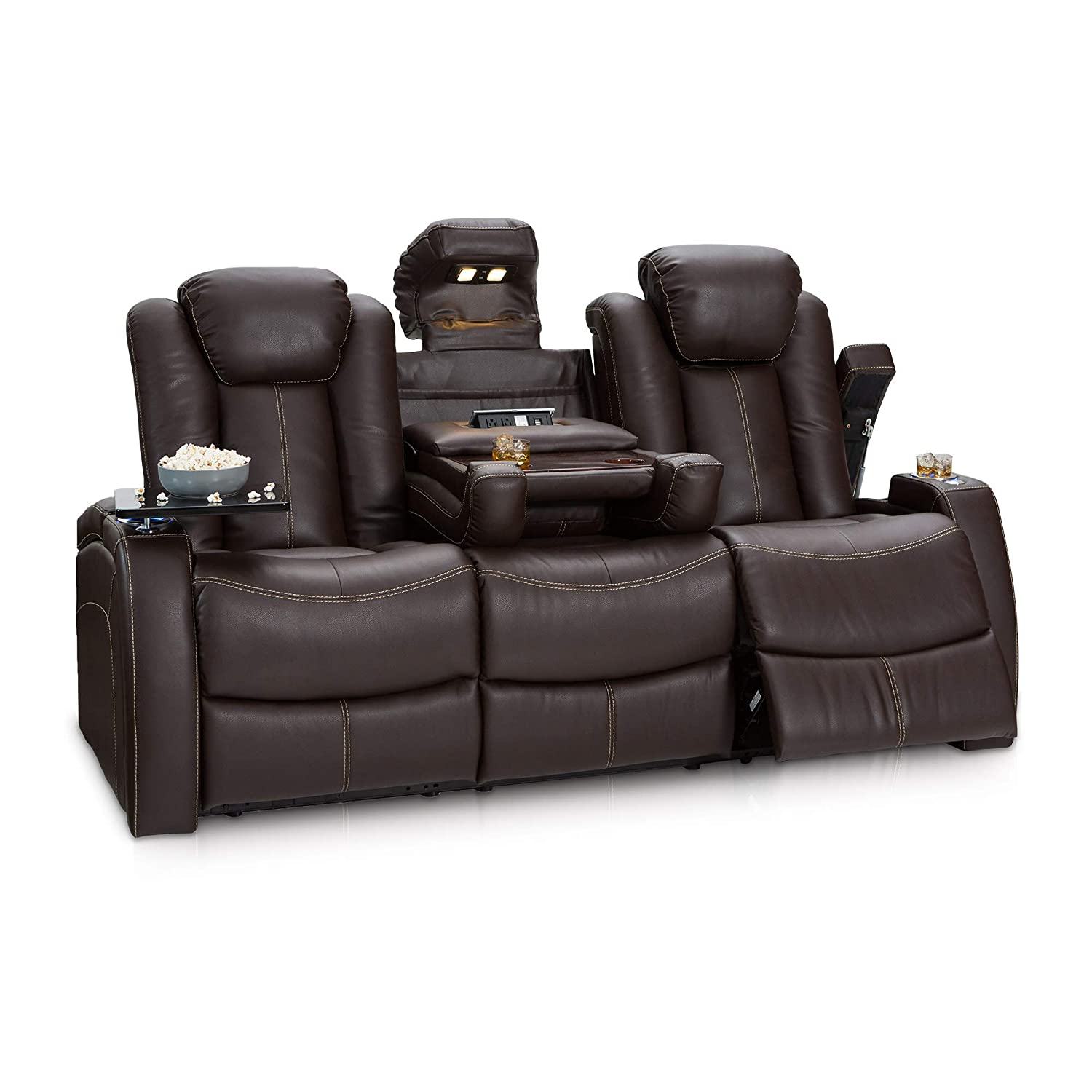 Seatcraft 162E51151559-V1 Omega Home Theater Seating Leather Gel Recline Sofa with Adjustable Powered Headrests, Fold-Down Table, and Lighted Cup ...
