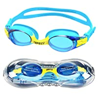 COPOZZ Kids Swimming Goggles, Swim Goggles for Children Junior Boys Girls - Age 3 4 5 6 7 8 9 10 11 12 Years - Anti Fog UV Protection No Leak - Mirror/Clear Lens - With FREE Protection Case