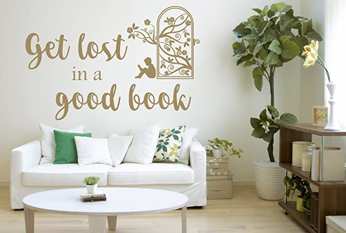 Amazon.com: Get Lost in a Good Book Quote, Vinyl Wall Art Sticker ...
