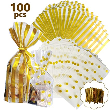 YANSHON Bolsas Regalo Cumpleaños 100pcs Bolsa de Caramelo ...