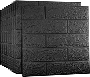 Sodeno 10 Pcs 3D Wall Panels, 3D Wallpaper Sticker with Self-Adhesive Waterproof Brick PE Foam Wall Panels for Interior Wall Decor, TV Wall,Bathroom, Kitchen, Living Room Home Decoration