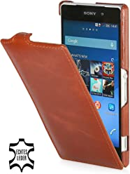 StilGut Housse UltraSlim en cuir pour Sony Xperia Z2, en cognac