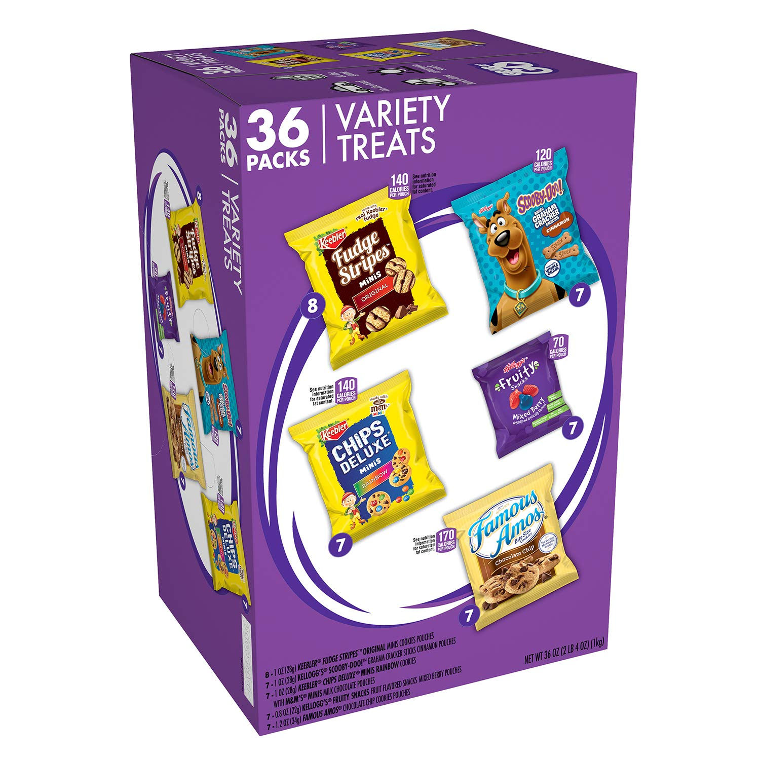 Keebler Sweet Treat Variety Pack, Fudge Stripes, Chips Deluxe Rainbow, Scooby-Doo! Graham Crackers, Famous Amos, Fruity Snacks, Pack of 36, Chocolate Chip