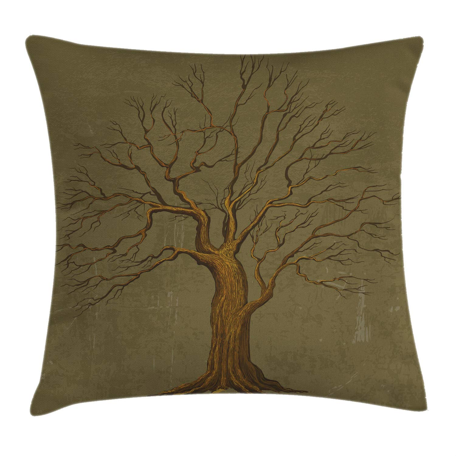 Ambesonne Tree Throw Pillow Cushion Cover, Illustration of a Big Tree on Antique Old Paper Vintage Style Artwork Design Print, Decorative Square Accent Pillow Case, 24'' X 24'', Olive Green