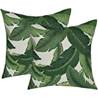 """Set of 2 - Indoor / Outdoor 17"""" Square Decorative Throw / Toss Pillows - Tommy Bahama Swaying Palms - Aloe - Green Tropical Palm Leaf"""