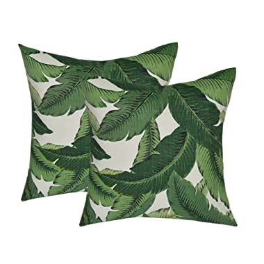 Set of 2 - Indoor / Outdoor 17  Square Decorative Throw / Toss Pillows - Tommy Bahama Swaying Palms - Aloe - Green Tropical Palm Leaf