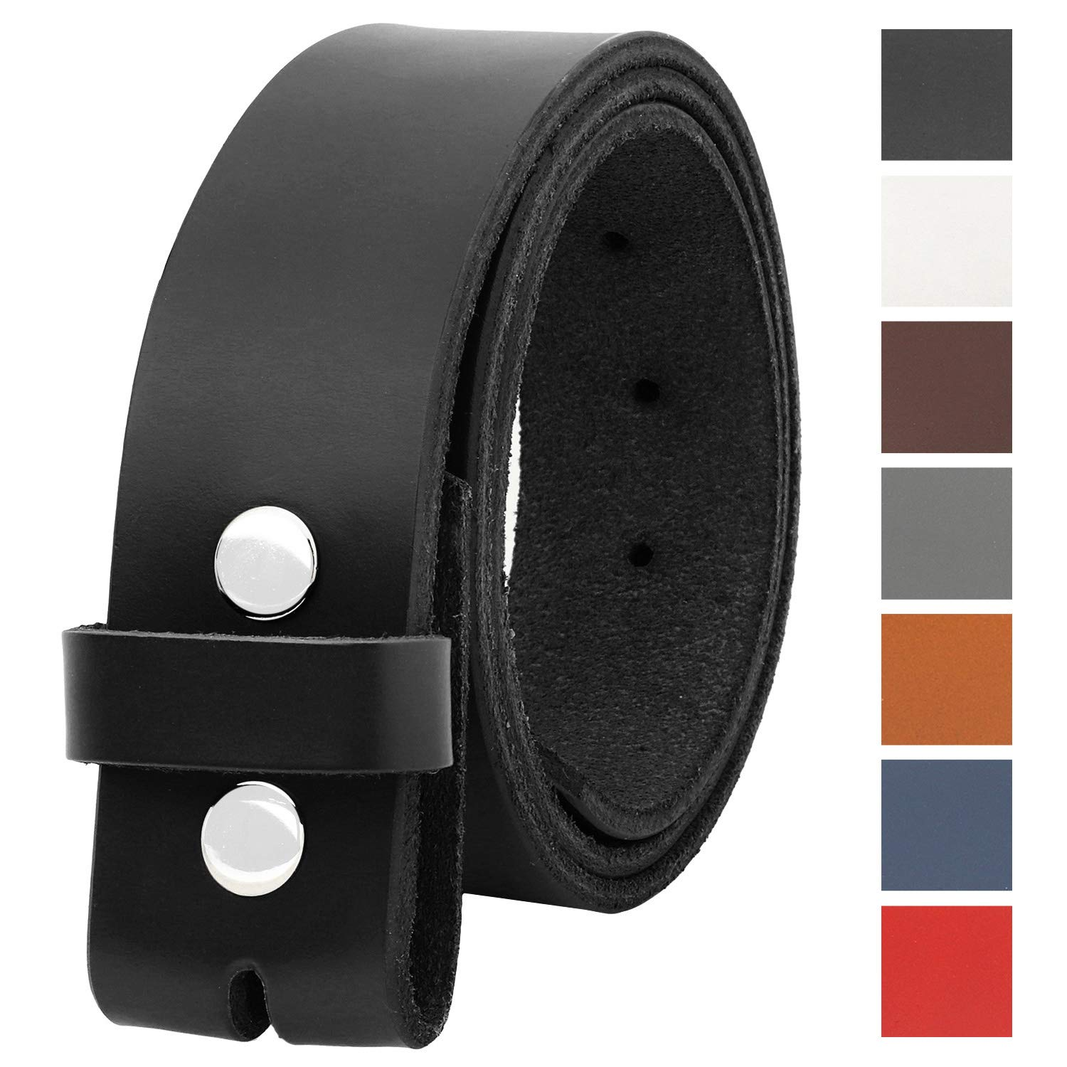 Falari Replacement Genuine Leather Belt Strap Without Buckle Snap on Strap 1.5'' Wide 8005-BLACK-36