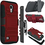 Galaxy S4 Case, Zenic(TM) Hybrid Dual Layer Armor Defender Full-body Protective Case Cover with Kickstand & Belt Clip Holster Combo for Samsung Galaxy S4 i9500 (Red/Black)