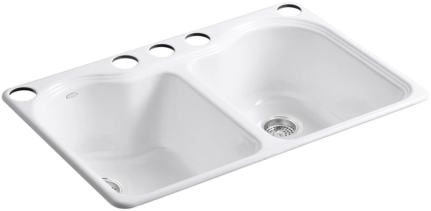 KOHLER K-5818-5U-0 Hartland Double Equal Undercounter Sink with Five-Hole Faucet Drilling White