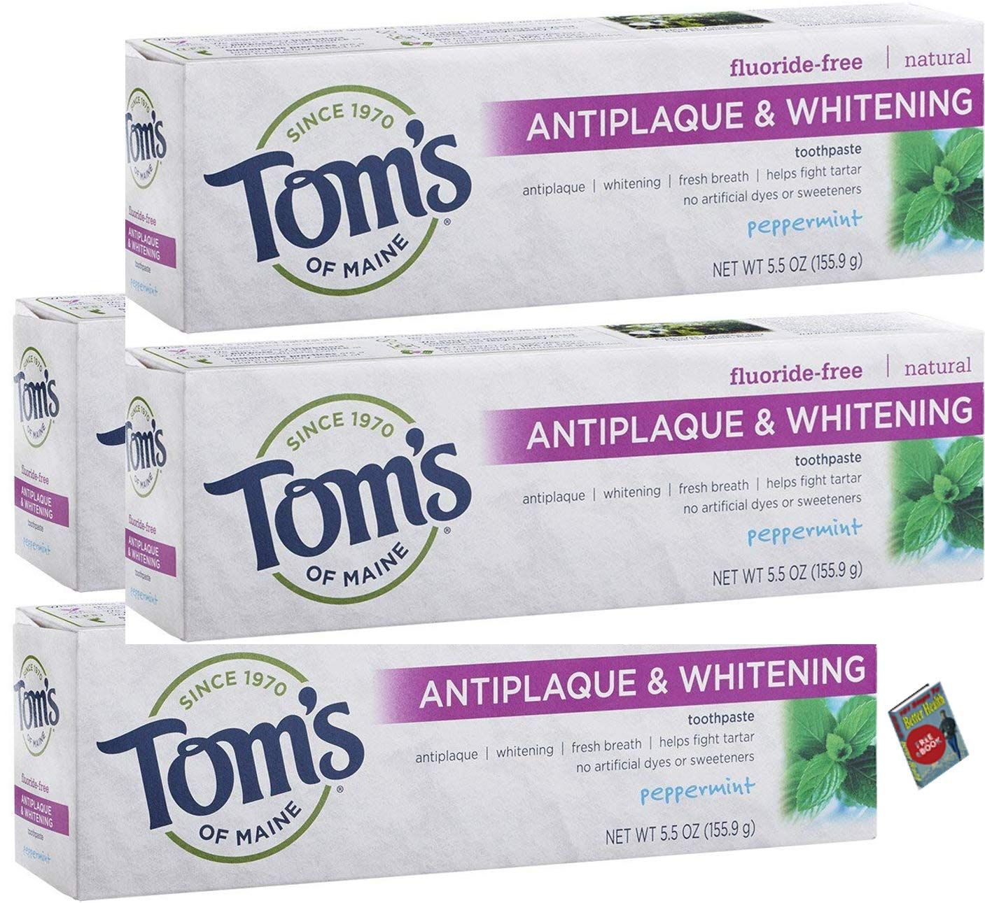 Tom's of Maine Antiplaque and Whitening Fluoride-Free Toothpaste, Peppermint, 5.5 oz, Pack of 4 (Case of 4)