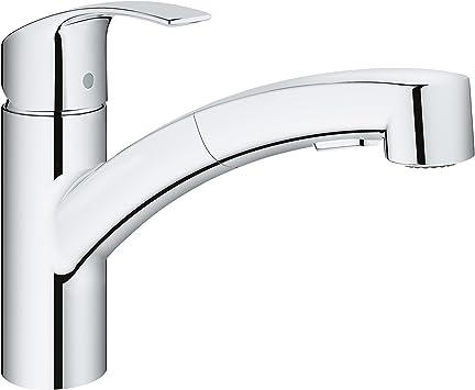 Grohe 30306000 Eurosmart Single Handle Kitchen Faucet Starlight Chrome Amazon Com