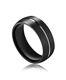 INSEA 8mm Mens Stainless Steel Wedding Band Black Plain Dome Brushed Polished Comfort Fit,Size 7-11 (7)