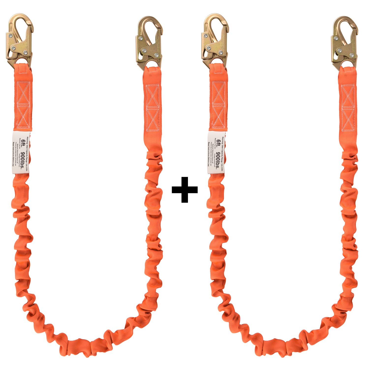 WELKFORDER 6-foot Internal Shock Absorbing Safety Lanyard with Double Snap Hook Connectors for Construction ANSI Z359.13-2013 Compliant Fall Protection Equipment( 2 PACK)