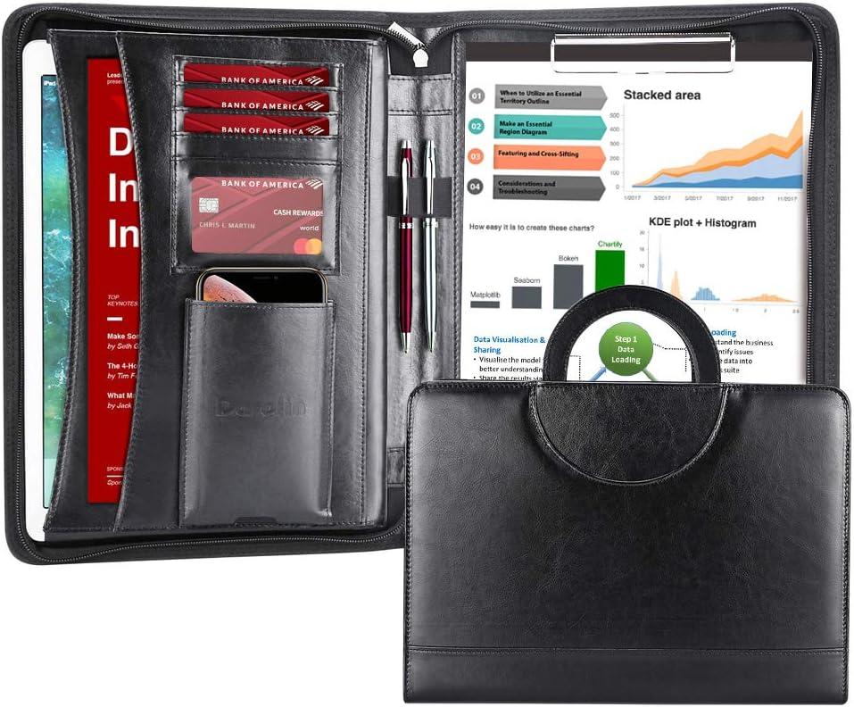 Jeterndy Business Portfolio Padfolio Zip PU Leather Business Portfolio Binder and Organizer Folder A4 Multifunctional Business Folder for Graduation Gift Color : Black, Size : 250x340mm