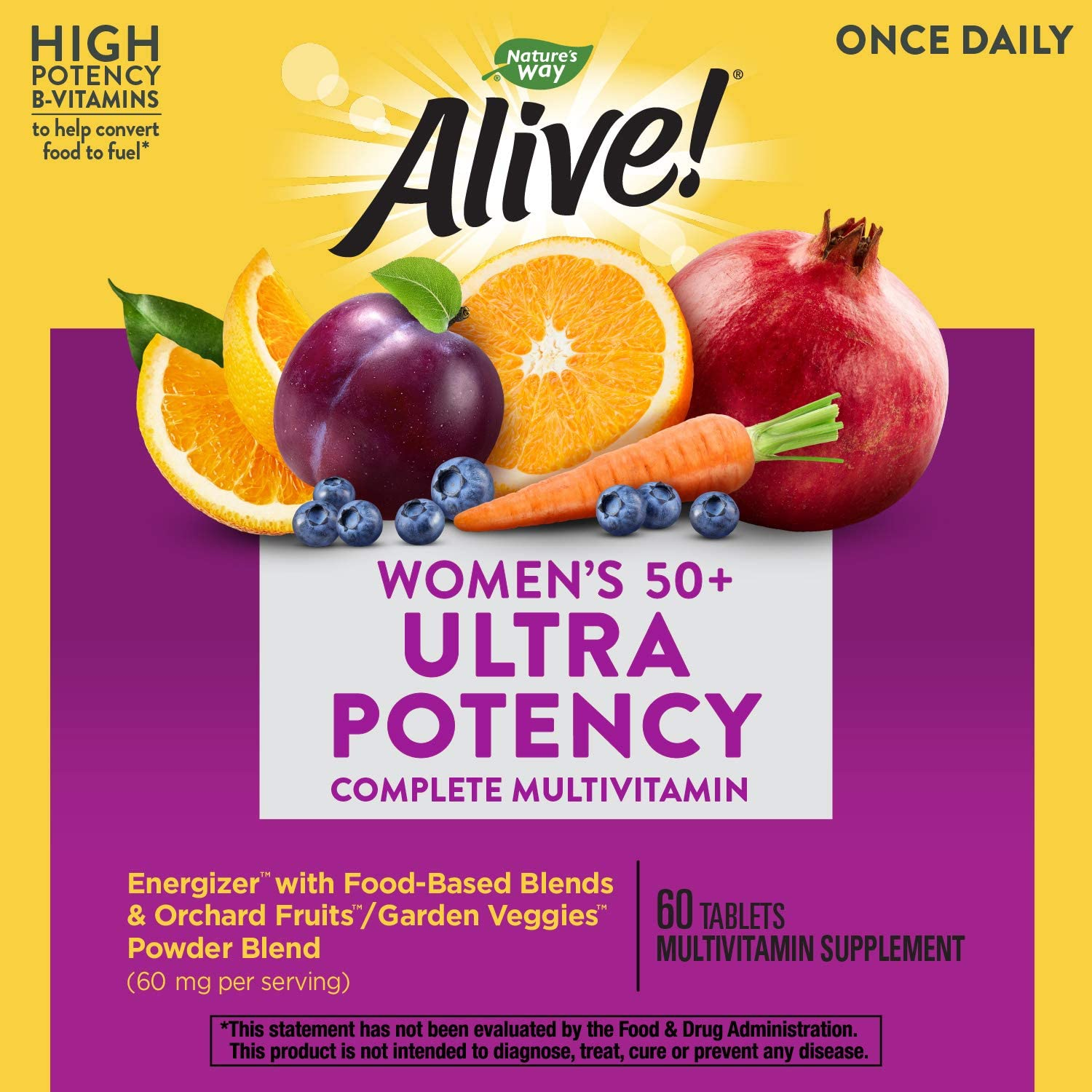 Nature's Way Alive! Once Daily Women's 50+ Multivitamin, Ultra Potency, Food-Based Blend, 60 Tablets: Health & Personal Care