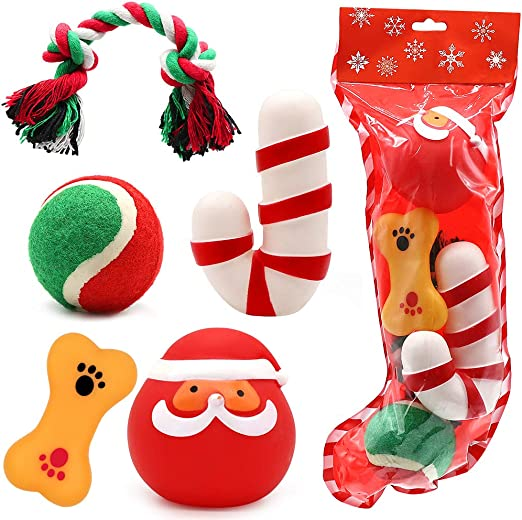 Amazon Com Petuol Christmas Dog Toys Stocking Set 5 Pieces Assorted Chew Toys Funny Santa Claus Shaped Squeaky Toy For Dog Cotton Rope Ball Toys Training Interaction Pet Supplies