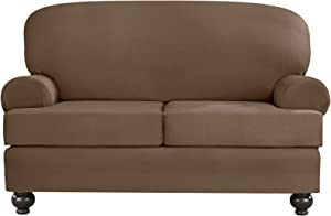 SURE FIT Designer Suede Convertible T-Cushion Loveseat Furniture Cover - Taupe (SF44382)