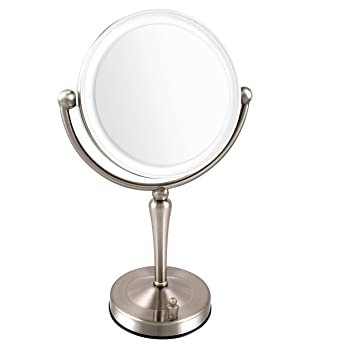 Ovente 7.5u201d Lighted Tabletop Makeup Mirror, Battery Or USB Adapter  Operated, 1x10x Magnification