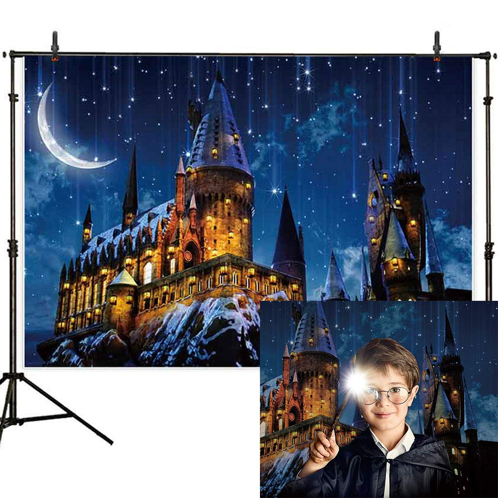 Allenjoy 7x5ft Magic Castle Witch Wizard Hogwarts Backdrop Photography Halloween Night Moon Background Sorcerer Party Banner Decors for Child Kid Portrait Photo Booth Prop by Allenjoy