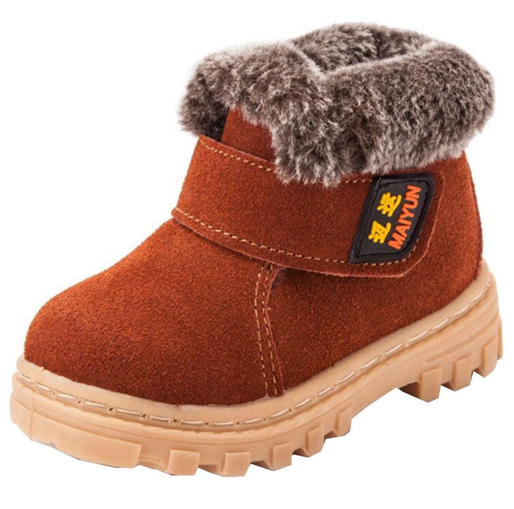 DADAWEN Boy's Girl's Classic Waterproof Suede Leather Snow Boots (Toddler/Little Kid/Big Kid) Brown US Size 8 M Toddler