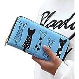 Ouneed ® Cute Lovely Zipper Cat Clutch Wallet Long Card Holder Purse Handbag (Blue)
