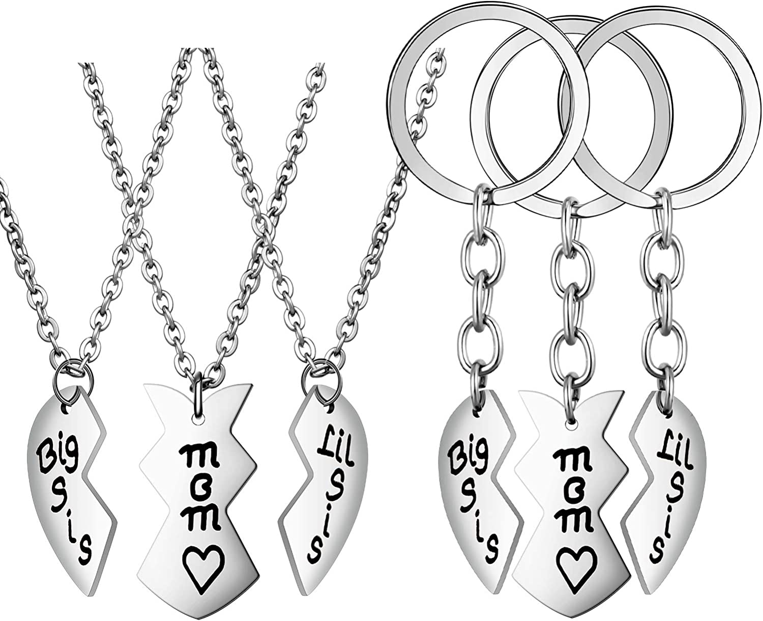 6 Pieces Mother Daughter Keychain and Necklace Stainless Steel Mother's Day Jewelry Gift