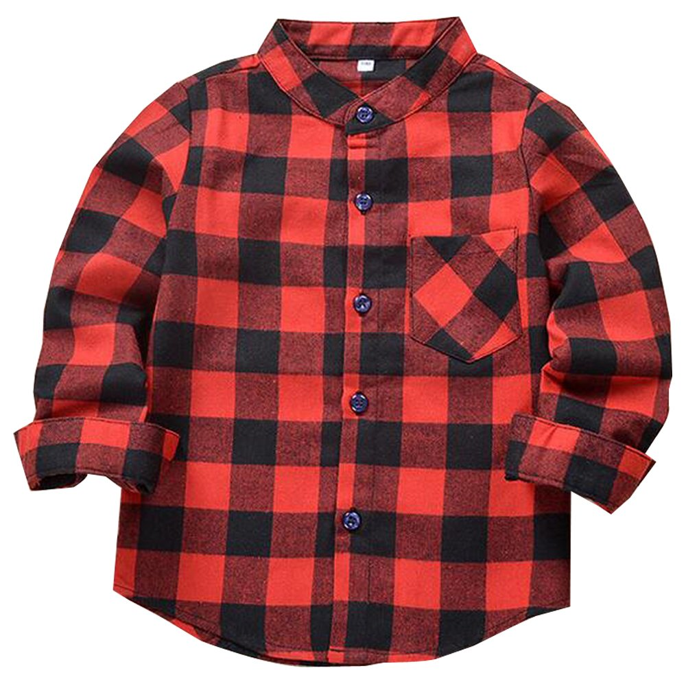 5 Size KINDOYO Kids Warm Cotton Button Down Long Sleeve Plaid Shirt For Boys And Girls