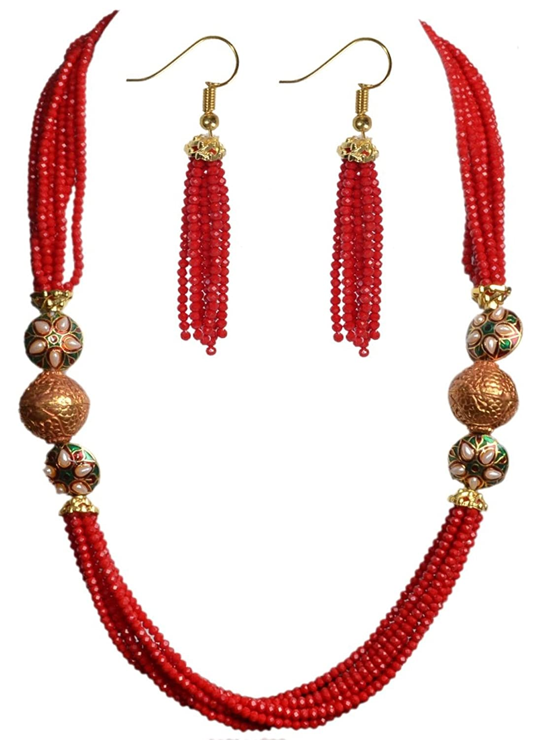 Sansar India Red Glass Indian Necklace Tassel & Earring Jewelry Set for Women 844
