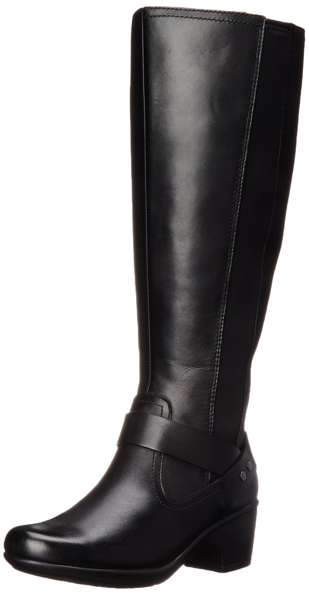 Clarks Women's Malia Waves Riding Boot, Black Leather, 6.5 M US