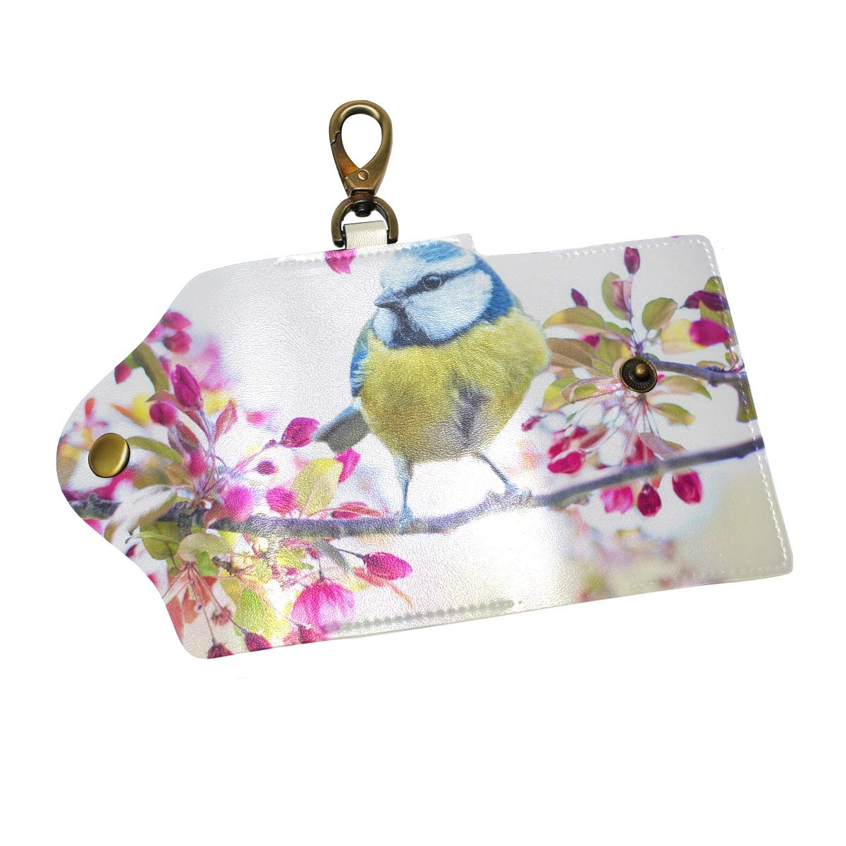 KEAKIA Spring Bird Leather Key Case Wallets Tri-fold Key Holder Keychains with 6 Hooks 2 Slot Snap Closure for Men Women