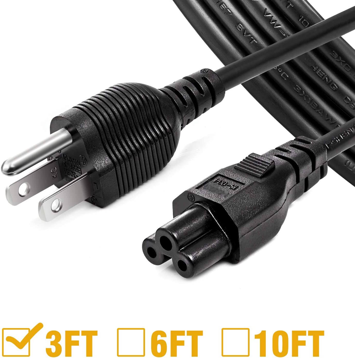 [UL Listed] Chanzon 3ft Mickey Mouse Universal AC Power Cord 3 Prong (NEMA 5-15P to IEC320C5) 10A 125V for LG TV,Dell Toshiba Laptop Notebook 3-pin 18 awg
