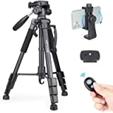 """63"""" Camera Tripod Lightweight Travel Tripod Aluminum Tripod with 2 Quick Release Plates and Phone Holder Mount for DSLR Camer"""
