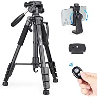 """63"""" Camera Tripod Lightweight Travel Tripod Aluminum Tripod with 2 Quick Release Plates and Phone Holder Mount for DSLR…"""