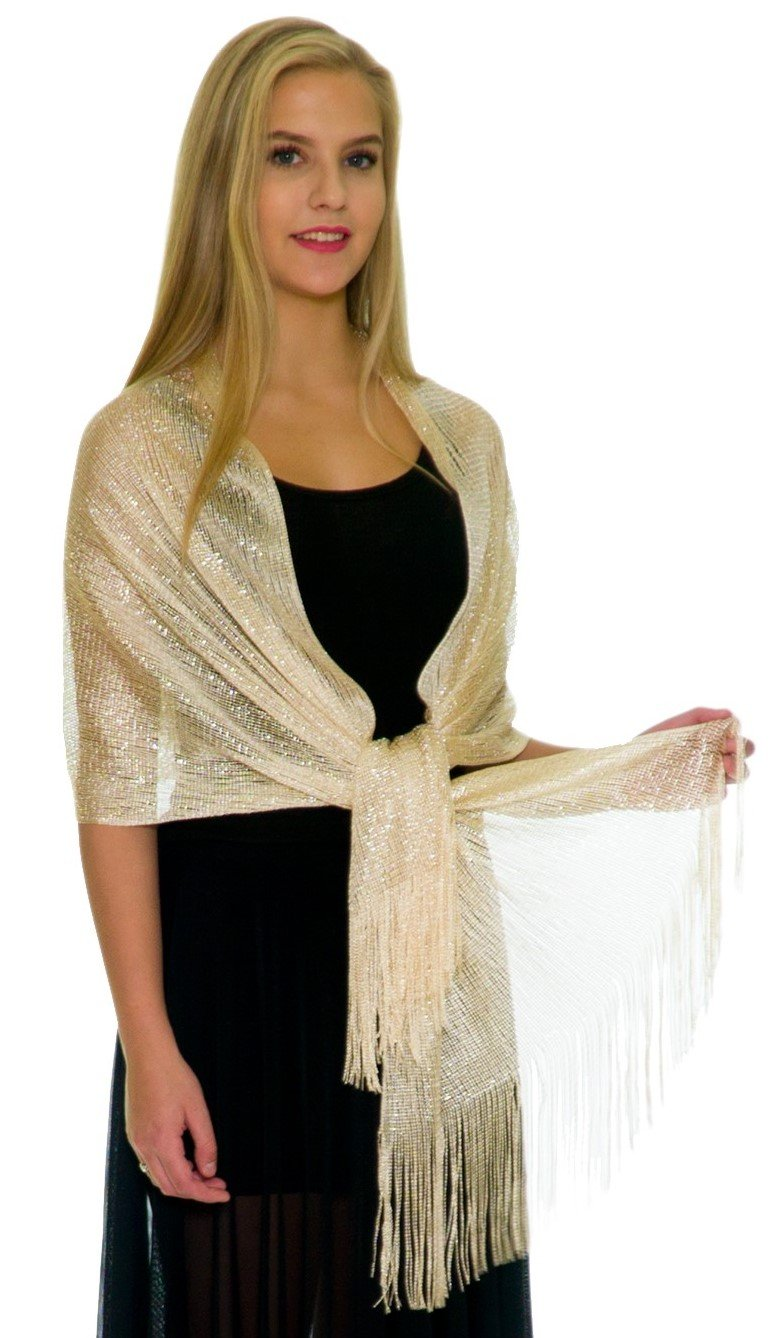 Petal Rose Shawls and Wraps for Evening Dresses - Sheer Bridal Womens Scarves for Prom, Wedding, Party, Bridal - Scarfs for Women with Fringe - Champagne