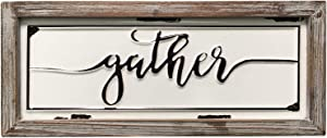 "DeliDecor Gather - 12"" X 5"" Wooden Signs Wall Decor Rustic Embossed Retro Metal and Wood Framed Sign Modern Farmhouse Wall Hanging Art Gather Sign Home Decor"