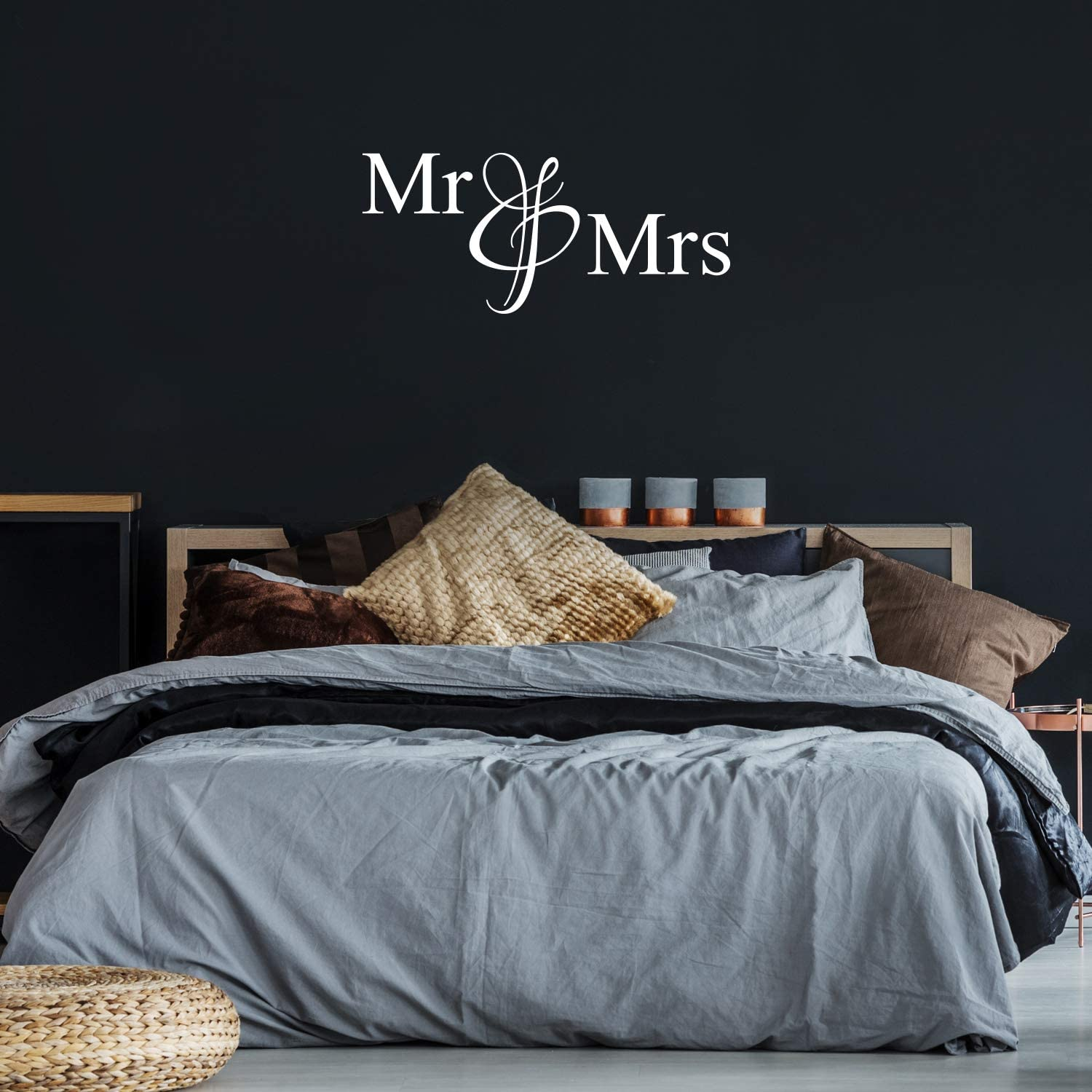 "Vinyl Wall Art Decal - Mr & Mrs - 20"" x 45.5"" - Modern Inspirational Cute Quote Sticker for Family Home Office Living Room Couple Bedroom Entryway Patio Decor (White)"