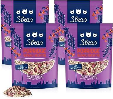 3Bears Porridge Frutos Rojos – Paquete 4er (4x400g) Gran cantidad ...
