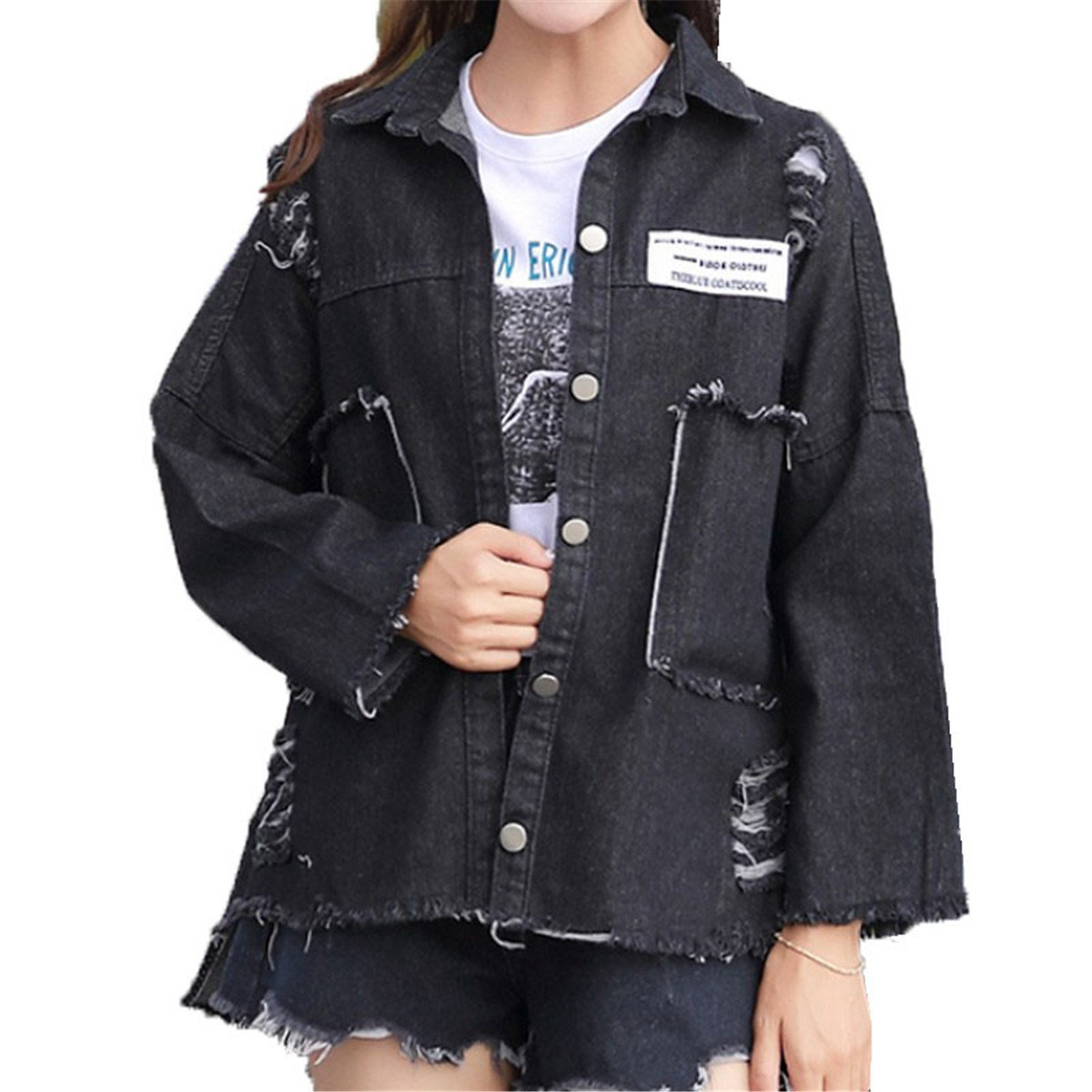 Henraly Oversized Women Patch Designs Ripped Denim Coat Spring Autumn Long Sleeve Feminina 2017 at Amazon Womens Coats Shop