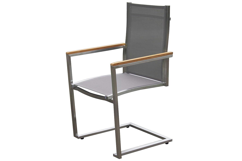 OUTFLEXX exklusiver Freischwinger Sessel in taupe, aus solidem Edelstahl und hochwertiger Textilene mit Armlehnen aus FSC-Teakholz, 58,5 x 53 x 89 cm, Schwingstuhl, korrosionsbeständig