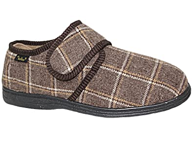f3df1d816c0 Men s Dr Keller Dr Don Wide Fitting Check Slipper with Memory Insole Size  6-12
