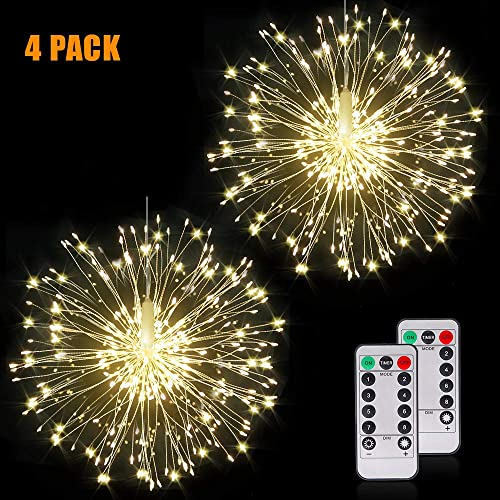 Fairy Firework String Lights Wire Lights,120 LED DIY 8 Modes Dimmable Lights with Remote Control, Waterproof Decorative Hanging Starburst Lights for Christmas, Home, Patio, Indoor Outdoor Decoration