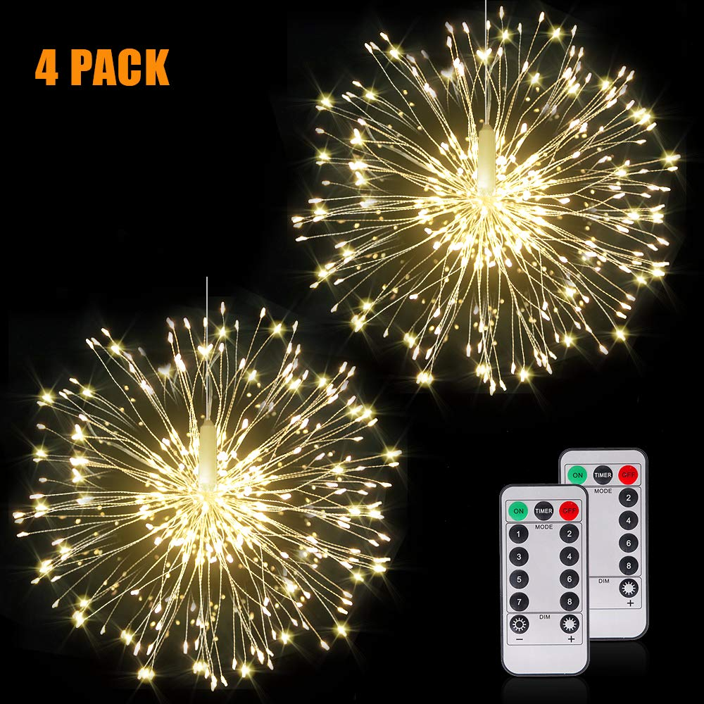 Firework Lights Wire Lights,120 LED DIY 8 Modes Dimmable String Fairy Lights with Remote Control,Waterproof Decorative Hanging Starburst Lights for Christmas, Home, Patio, Indoor Outdoor Decoration