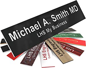 LHS My Business | Engraved Custom Door Plate Black Plastic Office Door Sign with White Letters | 2x8 - B2