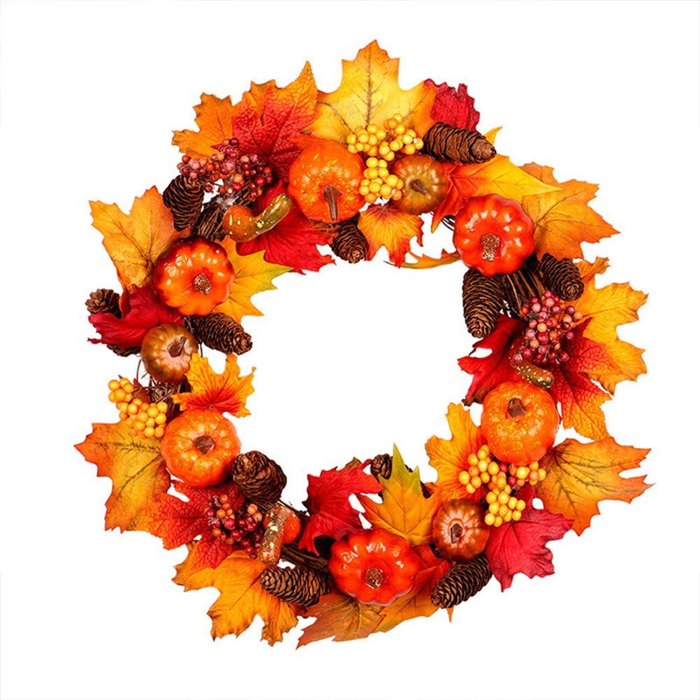 Enfudid 18 Inch Fall Wreath, Thanksgiving Wreath for Front Door, Thanksgiving Christmas Decorations for Home, Artificial Wreath with Maple Leaf, Pumpkin, Berries Festivals Door Hanging Decor